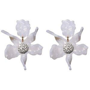 Lele Sadoughi White Lily Flower Earrings CLIP ON